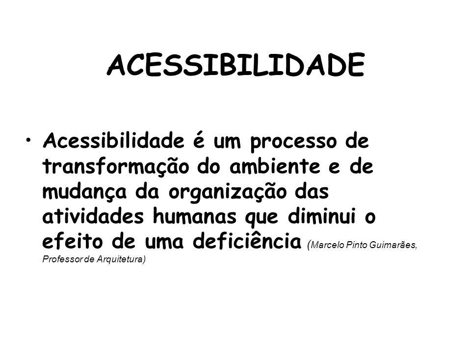 ACESSIBILIDADE Acessibilidade é um processo de transformação do ambiente e de mudança da organização das atividades humanas que diminui o efeito de um