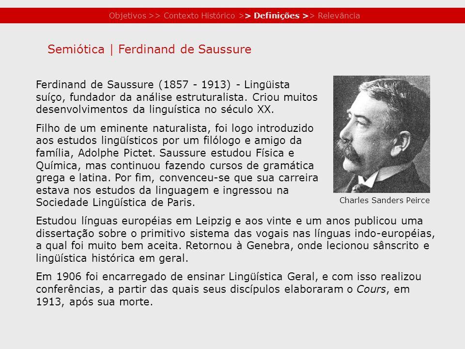 Objetivos >> Contexto Histórico >> Definições >> Relevância Ferdinand de Saussure (1857 - 1913) - Lingüista suíço, fundador da análise estruturalista.