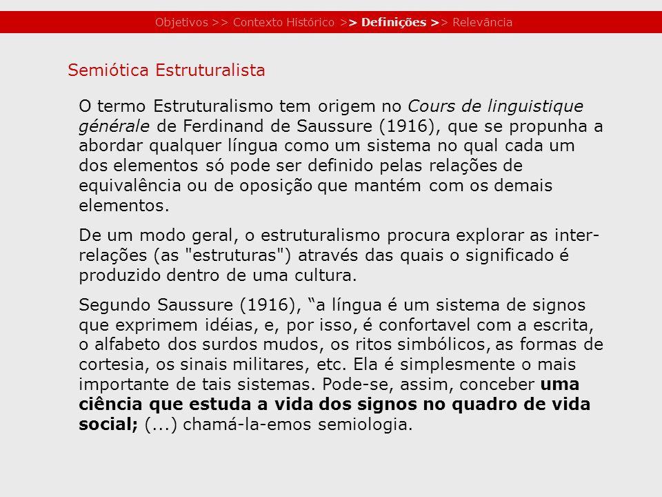 Objetivos >> Contexto Histórico >> Definições >> Relevância O termo Estruturalismo tem origem no Cours de linguistique générale de Ferdinand de Saussu