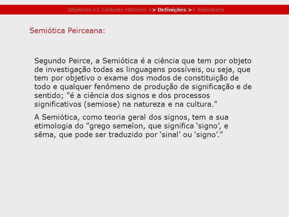 Objetivos >> Contexto Histórico >> Definições >> Relevância Segundo Peirce, a Semiótica é a ciência que tem por objeto de investigação todas as lingua