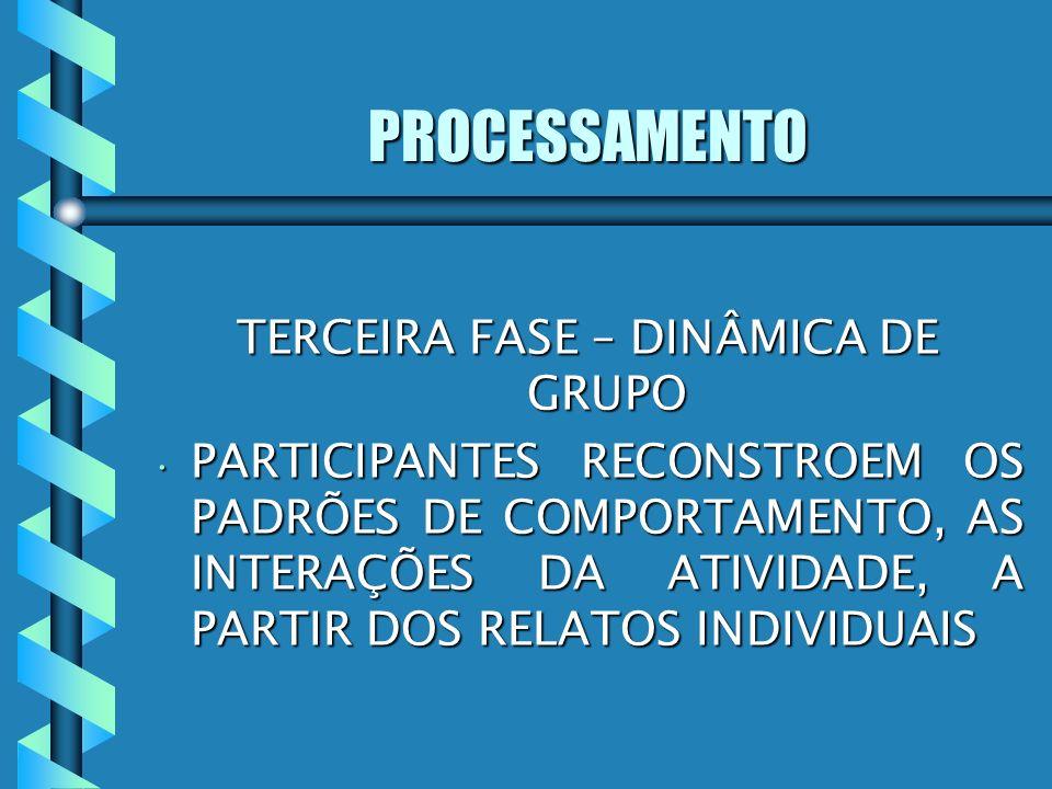 PROCESSAMENTO TERCEIRA FASE – DINÂMICA DE GRUPO PARTICIPANTES RECONSTROEM OS PADRÕES DE COMPORTAMENTO, AS INTERAÇÕES DA ATIVIDADE, A PARTIR DOS RELATO