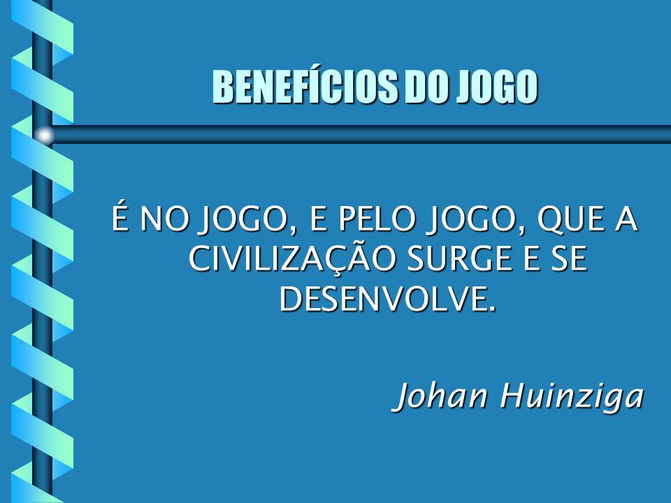 É NO JOGO, E PELO JOGO, QUE A CIVILIZAÇÃO SURGE E SE DESENVOLVE. Johan Huinziga Johan Huinziga BENEFÍCIOS DO JOGO