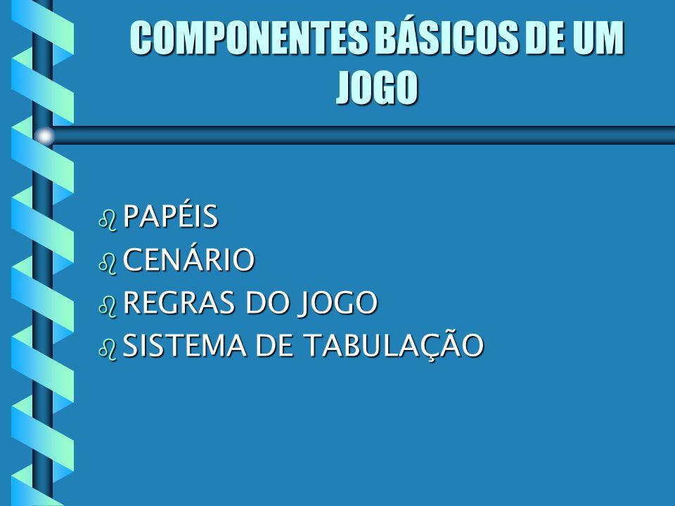 COMPONENTES BÁSICOS DE UM JOGO b PAPÉIS b CENÁRIO b REGRAS DO JOGO b SISTEMA DE TABULAÇÃO