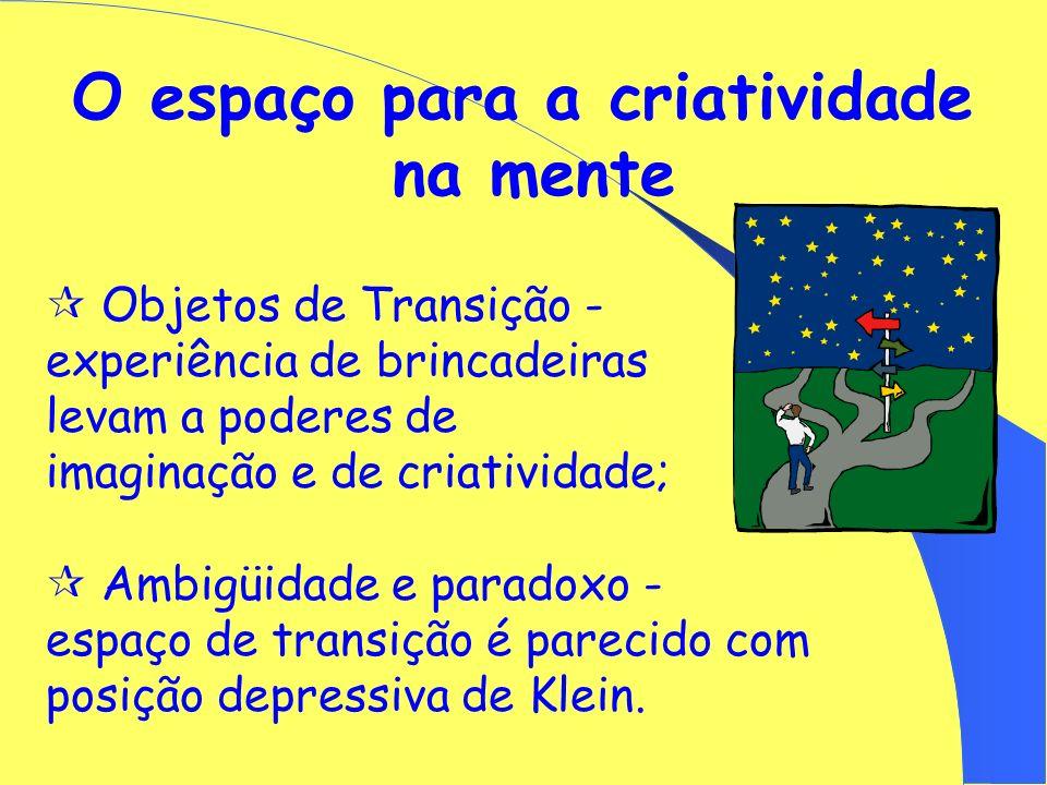 O espaço para a criatividade na mente TEORIA DE OBJETOS DE TRANSIÇÃO (Donald Winnicott) Processo criativo nos indivíduos; Pais bons o suficiente; Obje