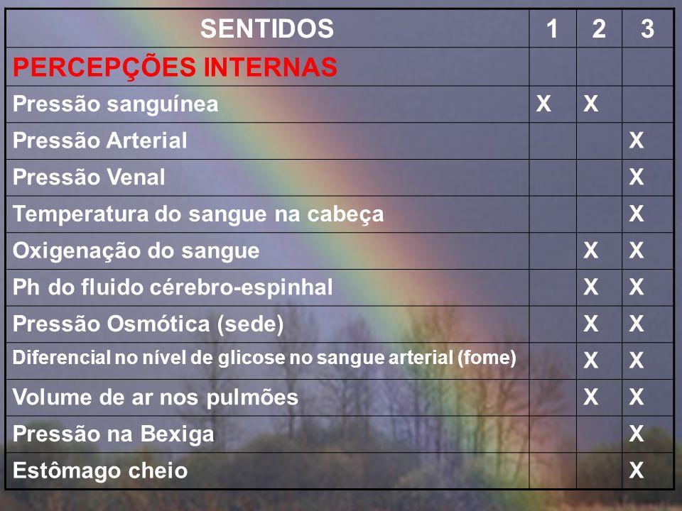 SENTIDOS123 DORXX Cutânea X SomáticaX VisceralX PERCEPÇÃO MECÂNICAX EquilíbrioXX Aceleração em rotaçãoX Aceleração linearX PropriocepçãoXX Cinestesia