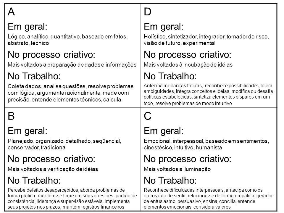 Tipologia da dominância cerebral - Hermann A D B C Direito Superior Esquerdo Superior Esquerdo Inferior Direito Inferior QUEM MEXEU NO MEU QUEIJO