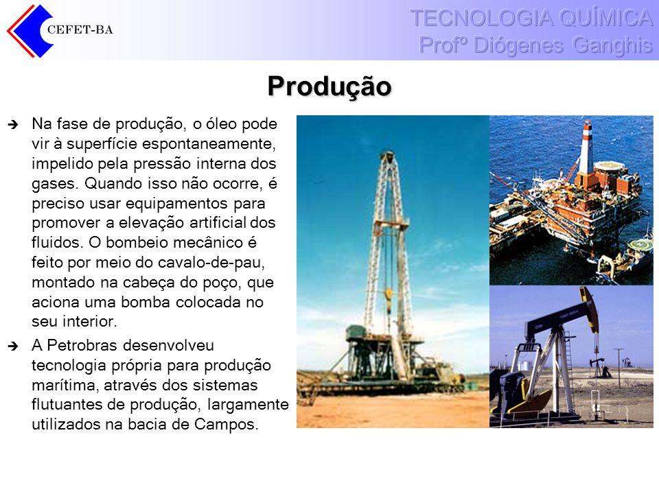 Produção Na fase de produção, o óleo pode vir à superfície espontaneamente, impelido pela pressão interna dos gases. Quando isso não ocorre, é preciso