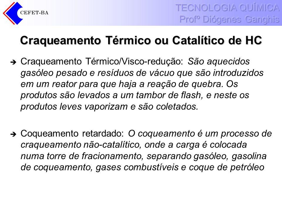 Craqueamento Térmico ou Catalítico de HC Craqueamento Térmico/Visco-redução: São aquecidos gasóleo pesado e resíduos de vácuo que são introduzidos em