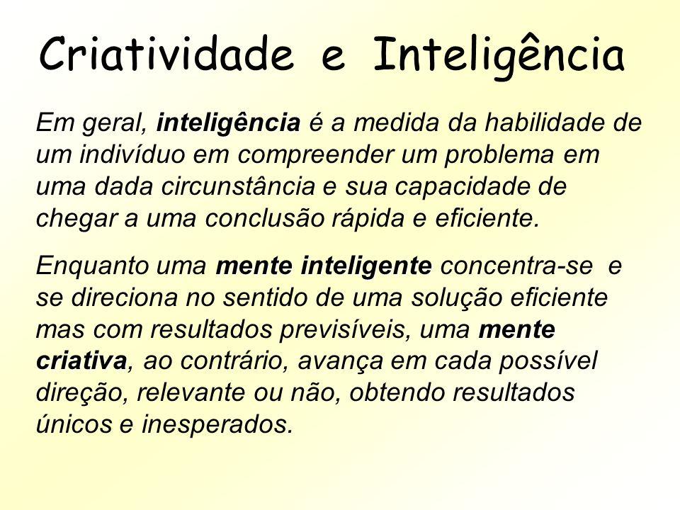 Criatividade e Inteligência inteligência Em geral, inteligência é a medida da habilidade de um indivíduo em compreender um problema em uma dada circun