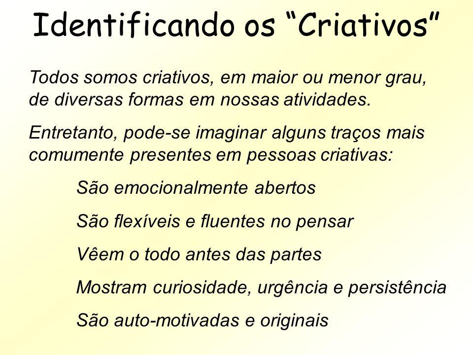 Identificando os Criativos Todos somos criativos, em maior ou menor grau, de diversas formas em nossas atividades. Entretanto, pode-se imaginar alguns