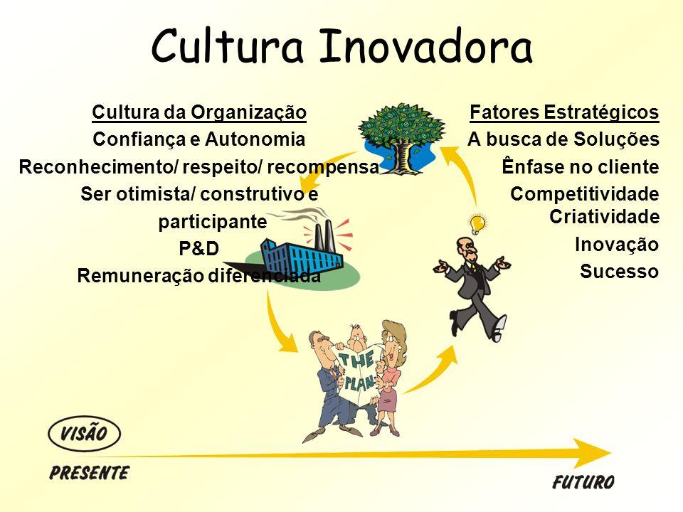 Cultura Inovadora Cultura da Organização Confiança e Autonomia Reconhecimento/ respeito/ recompensa Ser otimista/ construtivo e participante P&D Remun