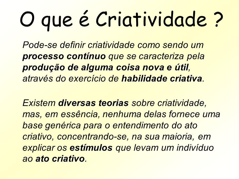 O que é Criatividade ? processo contínuo produção de alguma coisa nova e útil habilidade criativa Pode-se definir criatividade como sendo um processo