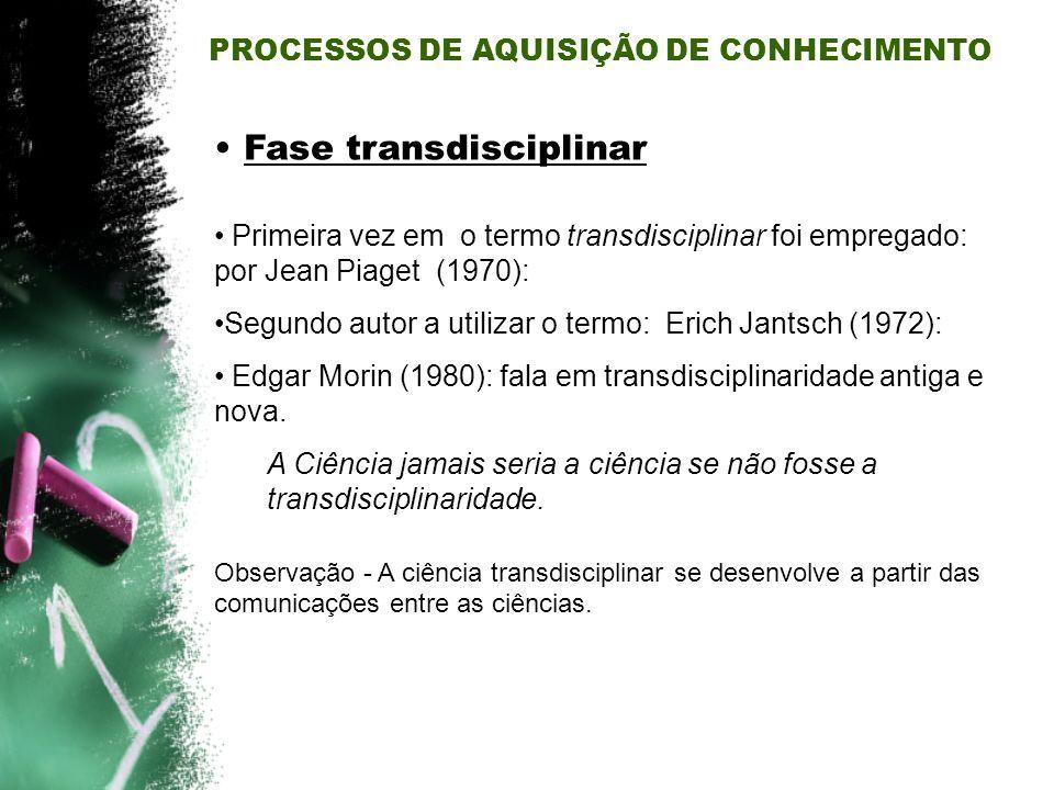 Fase transdisciplinar Primeira vez em o termo transdisciplinar foi empregado: por Jean Piaget (1970): Segundo autor a utilizar o termo: Erich Jantsch