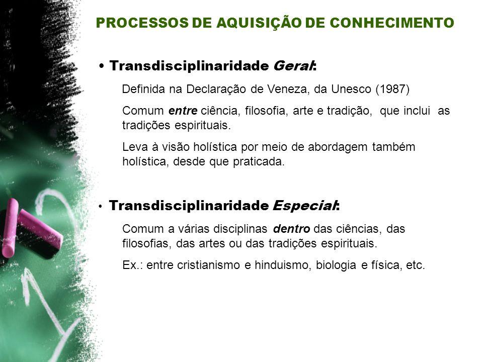 Transdisciplinaridade Geral: Definida na Declaração de Veneza, da Unesco (1987) Comum entre ciência, filosofia, arte e tradição, que inclui as tradiçõ