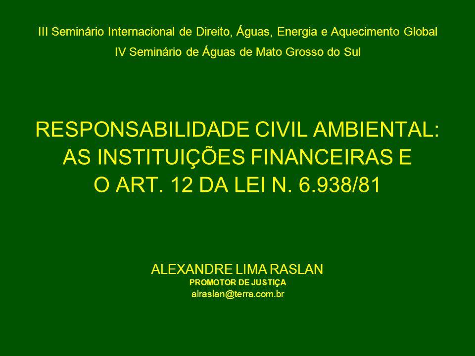 III Seminário Internacional de Direito, Águas, Energia e Aquecimento Global IV Seminário de Águas de Mato Grosso do Sul RESPONSABILIDADE CIVIL AMBIENT