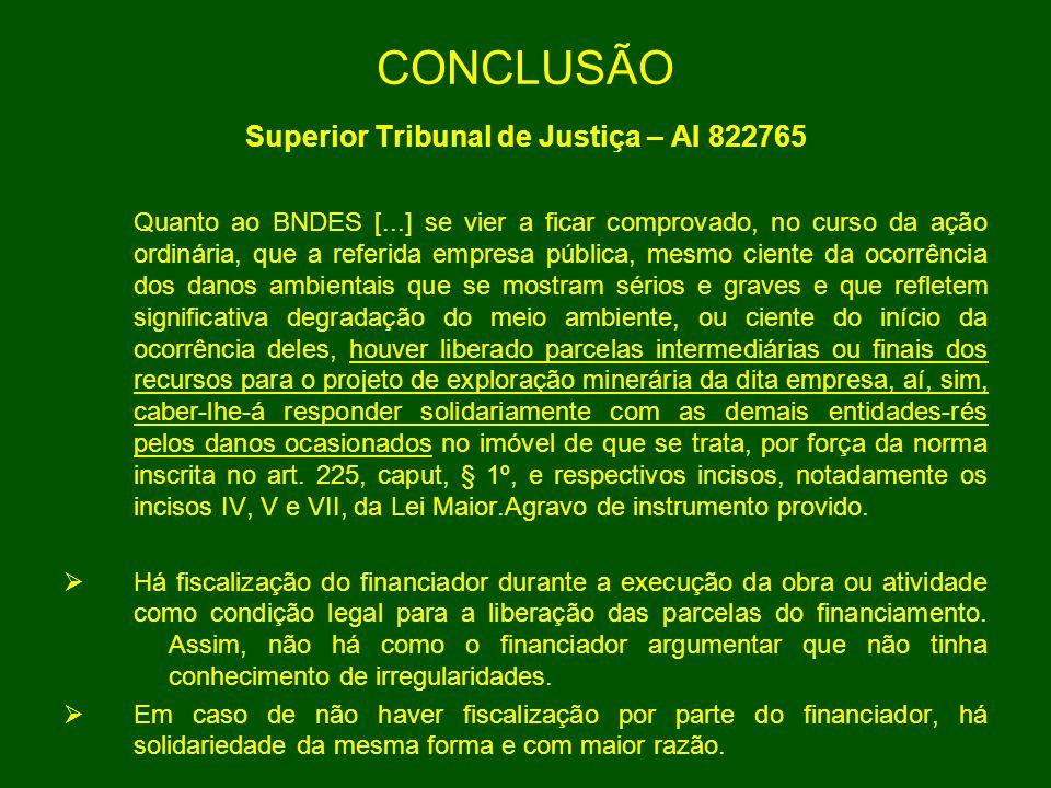 CONCLUSÃO Superior Tribunal de Justiça – AI 822765 Quanto ao BNDES [...] se vier a ficar comprovado, no curso da ação ordinária, que a referida empres