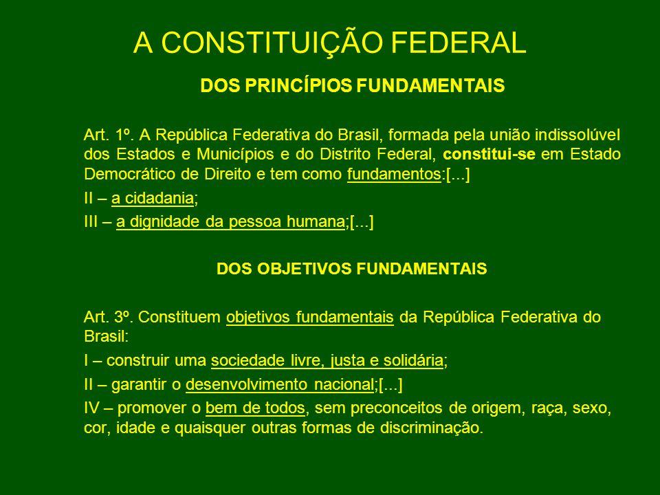 A CONSTITUIÇÃO FEDERAL DOS PRINCÍPIOS FUNDAMENTAIS Art. 1º. A República Federativa do Brasil, formada pela união indissolúvel dos Estados e Municípios