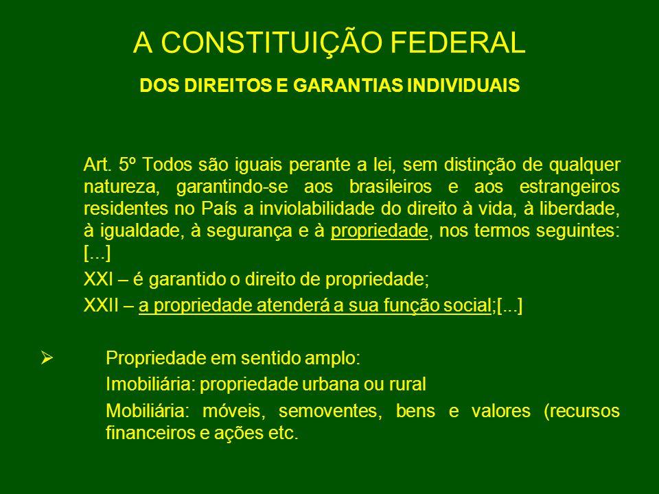 A CONSTITUIÇÃO FEDERAL DOS DIREITOS E GARANTIAS INDIVIDUAIS Art. 5º Todos são iguais perante a lei, sem distinção de qualquer natureza, garantindo-se