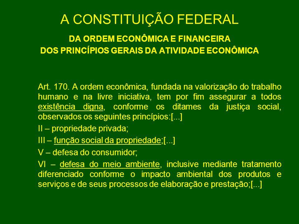 A CONSTITUIÇÃO FEDERAL DA ORDEM ECONÔMICA E FINANCEIRA DOS PRINCÍPIOS GERAIS DA ATIVIDADE ECONÔMICA Art. 170. A ordem econômica, fundada na valorizaçã