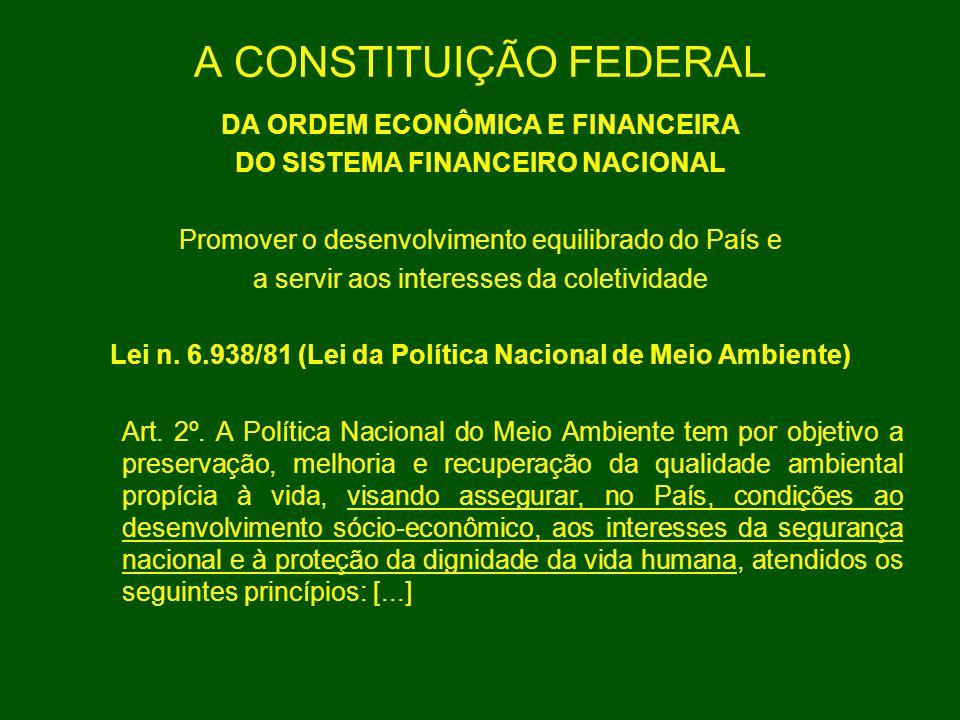 A CONSTITUIÇÃO FEDERAL DA ORDEM ECONÔMICA E FINANCEIRA DO SISTEMA FINANCEIRO NACIONAL Promover o desenvolvimento equilibrado do País e a servir aos in
