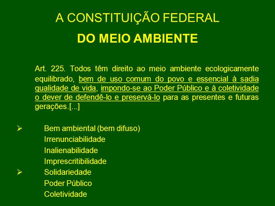 A CONSTITUIÇÃO FEDERAL DO MEIO AMBIENTE Art. 225. Todos têm direito ao meio ambiente ecologicamente equilibrado, bem de uso comum do povo e essencial
