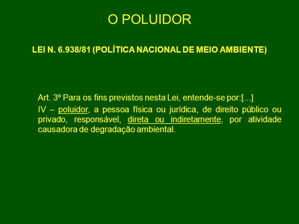 O POLUIDOR LEI N. 6.938/81 (POLÍTICA NACIONAL DE MEIO AMBIENTE) Art. 3º Para os fins previstos nesta Lei, entende-se por:[...] IV – poluidor, a pessoa