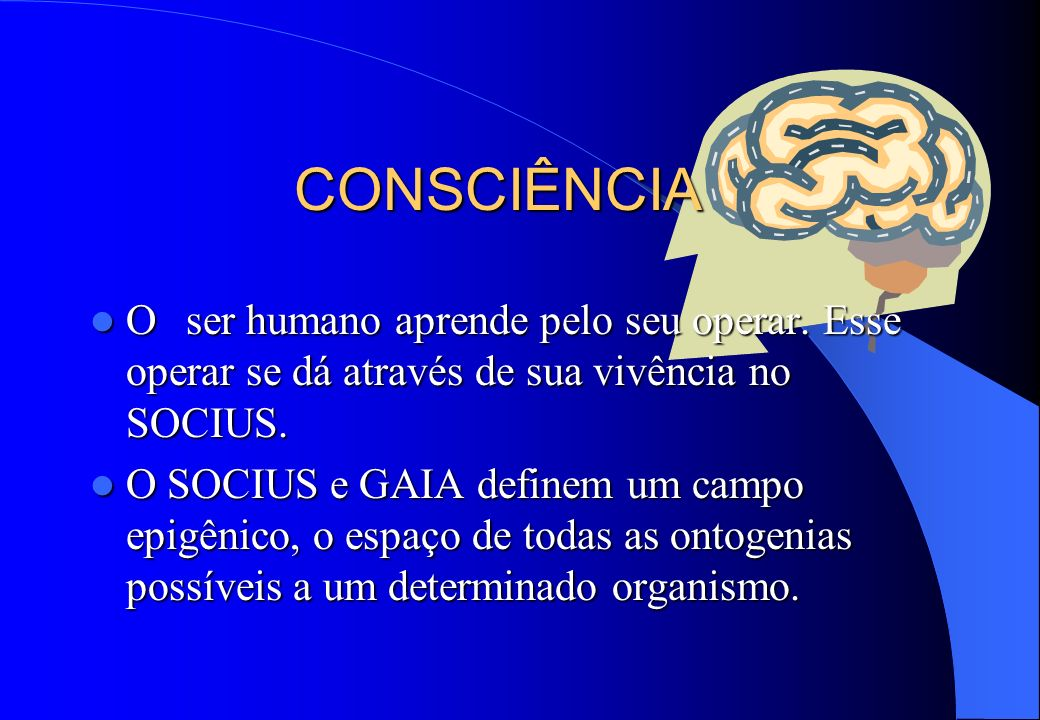 CONSCIÊNCIA O ser humano aprende pelo seu operar. Esse operar se dá através de sua vivência no SOCIUS. O ser humano aprende pelo seu operar. Esse oper