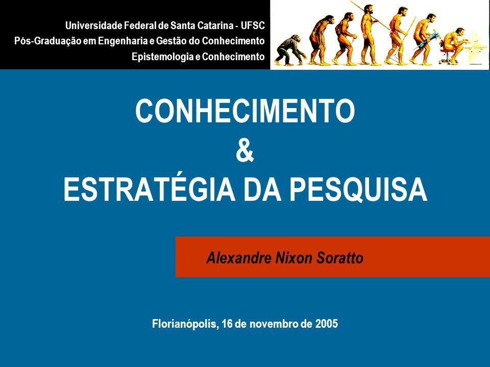 CONHECIMENTO & ESTRATÉGIA DA PESQUISA Florianópolis, 16 de novembro de 2005 Alexandre Nixon Soratto Universidade Federal de Santa Catarina - UFSC Pós-