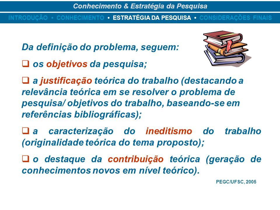 INTRODUÇÃO CONHECIMENTO ESTRATÉGIA DA PESQUISA CONSIDERAÇÕES FINAIS Conhecimento & Estratégia da Pesquisa Da definição do problema, seguem: os objetiv