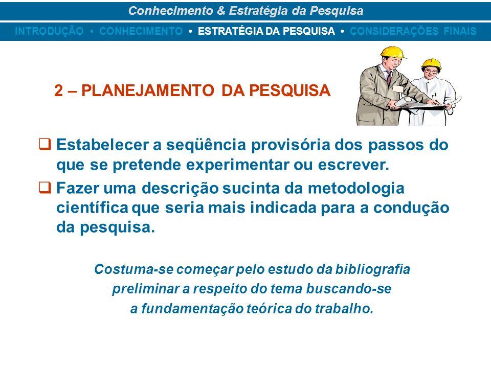 INTRODUÇÃO CONHECIMENTO ESTRATÉGIA DA PESQUISA CONSIDERAÇÕES FINAIS Conhecimento & Estratégia da Pesquisa 2 – PLANEJAMENTO DA PESQUISA Estabelecer a s