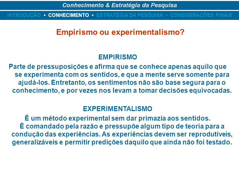 INTRODUÇÃO CONHECIMENTO ESTRATÉGIA DA PESQUISA CONSIDERAÇÕES FINAIS Conhecimento & Estratégia da Pesquisa Empirismo ou experimentalismo? EMPIRISMO Par