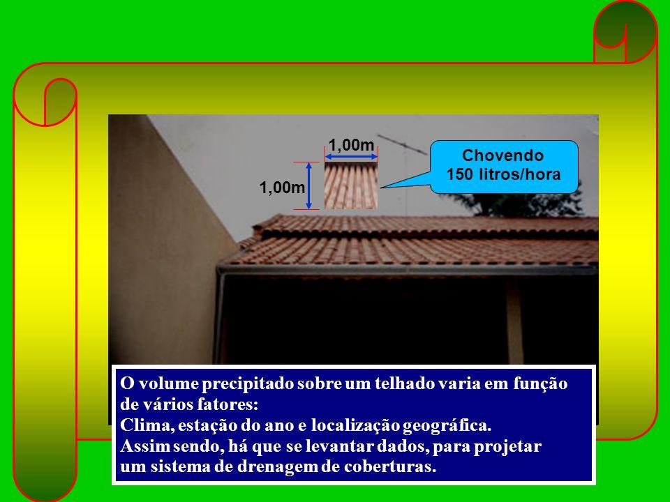 1,00m Chovendo 150 litros/hora O volume precipitado sobre um telhado varia em função de vários fatores: Clima, estação do ano e localização geográfica