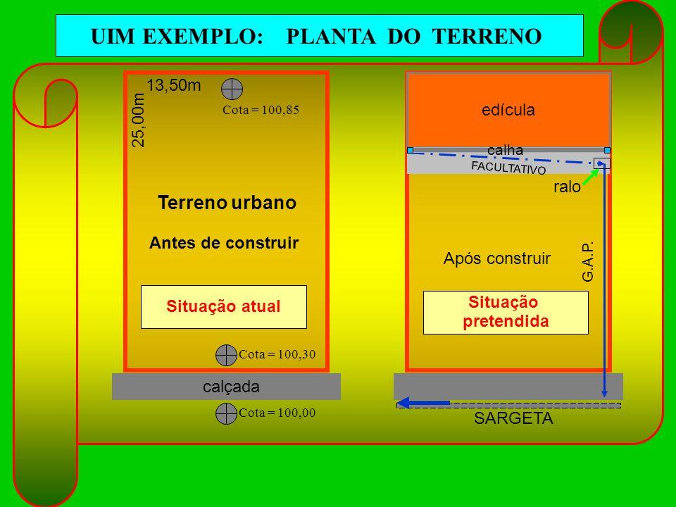 UIM EXEMPLO: PLANTA DO TERRENO 13,50m 25,00m Terreno urbano calçada edícula calha ralo G.A.P. FACULTATIVO SARGETA Cota = 100,85 Cota = 100,30 Cota = 1