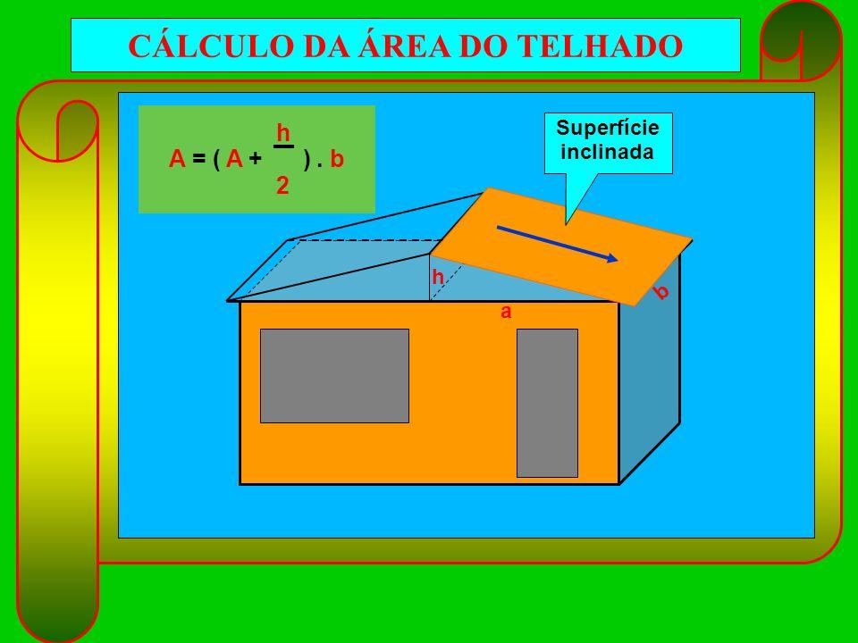 CÁLCULO DA ÁREA DO TELHADO a b h h A = ( A + ). b 2 Superfície inclinada