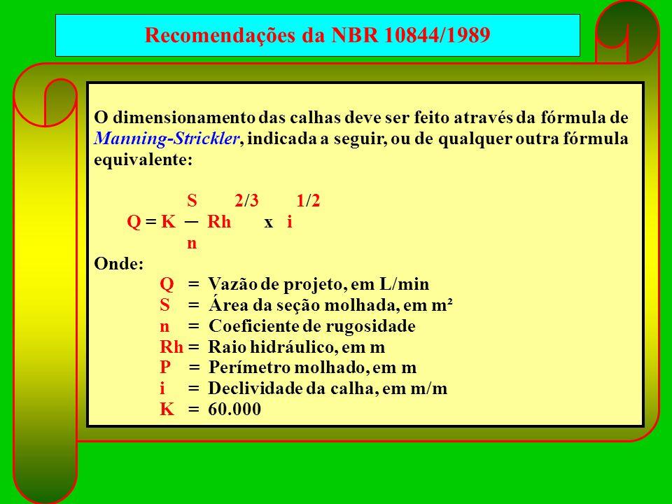 Recomendações da NBR 10844/1989 O dimensionamento das calhas deve ser feito através da fórmula de Manning-Strickler, indicada a seguir, ou de qualquer