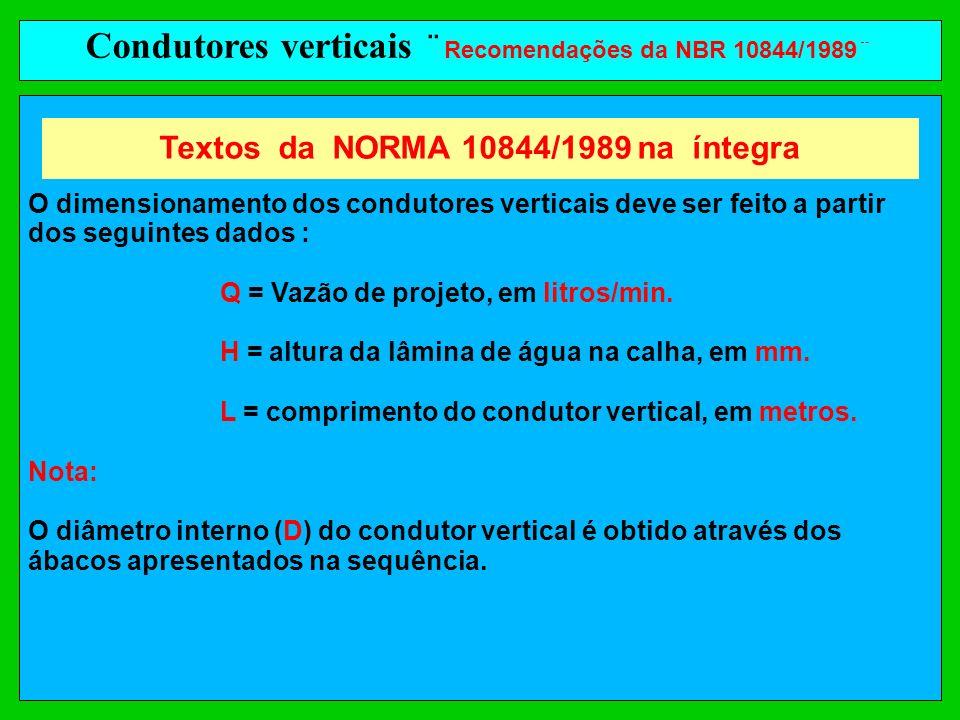 Condutores verticais ¨ Recomendações da NBR 10844/1989¨ O dimensionamento dos condutores verticais deve ser feito a partir dos seguintes dados : Q = V