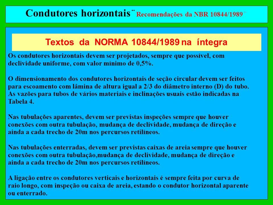 Condutores horizontais ¨ Recomendações da NBR 10844/1989¨ Os condutores horizontais devem ser projetados, sempre que possível, com declividade uniform
