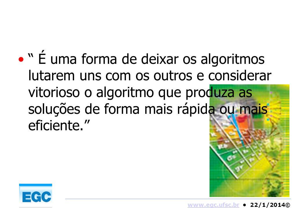 www.egc.ufsc.brwww.egc.ufsc.br 22/1/2014© É uma forma de deixar os algoritmos lutarem uns com os outros e considerar vitorioso o algoritmo que produza