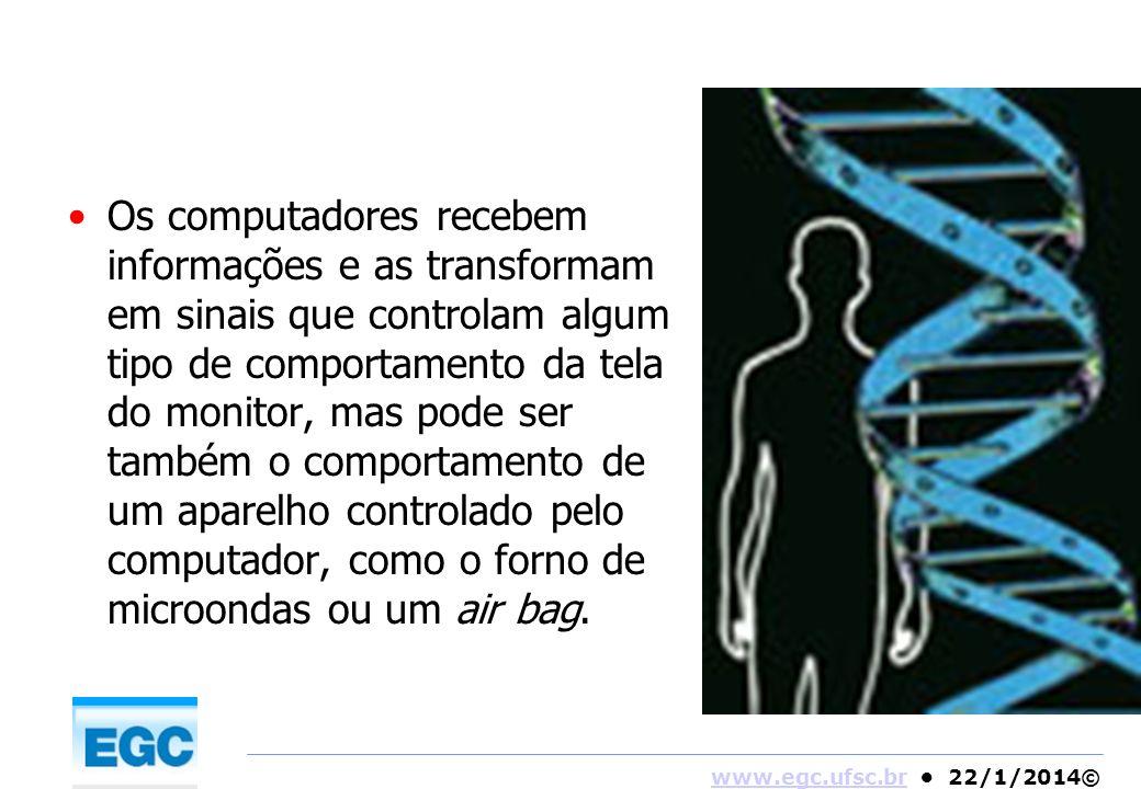 www.egc.ufsc.brwww.egc.ufsc.br 22/1/2014© Os computadores recebem informações e as transformam em sinais que controlam algum tipo de comportamento da