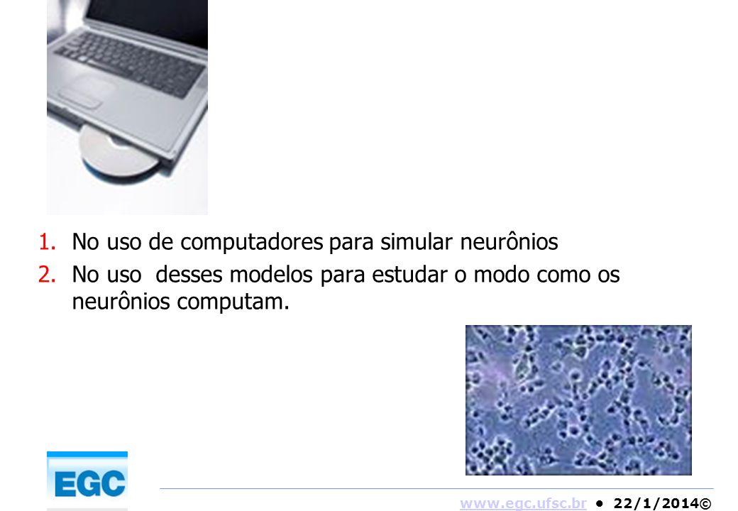 www.egc.ufsc.brwww.egc.ufsc.br 22/1/2014© 1.No uso de computadores para simular neurônios 2.No uso desses modelos para estudar o modo como os neurônio