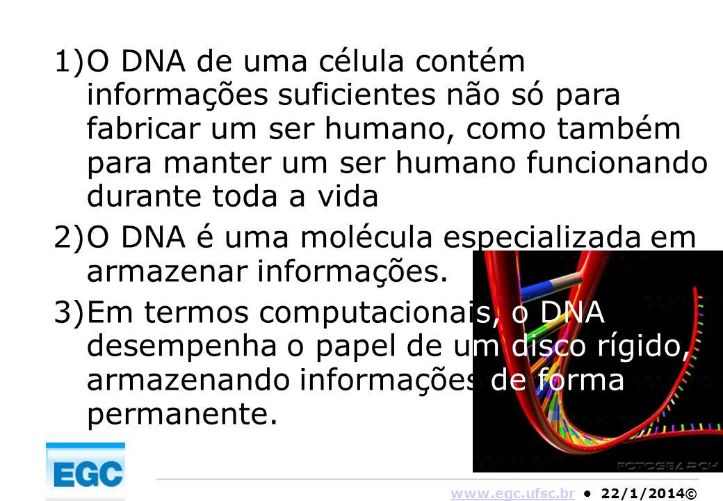 www.egc.ufsc.brwww.egc.ufsc.br 22/1/2014© 1)O DNA de uma célula contém informações suficientes não só para fabricar um ser humano, como também para ma