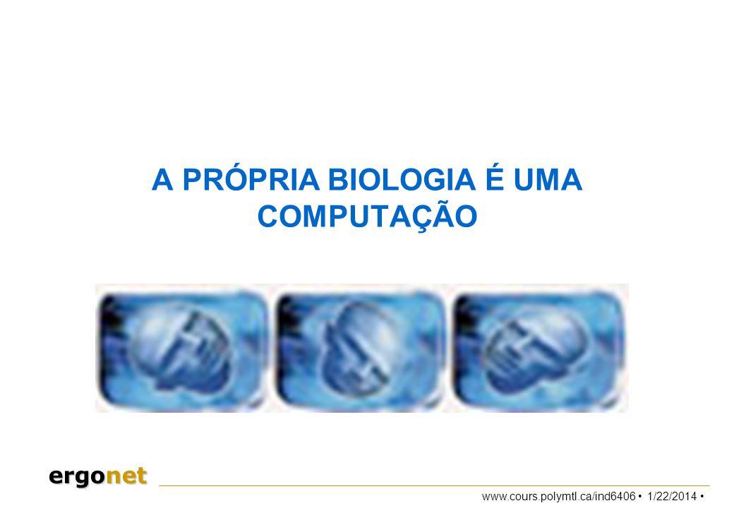 www.cours.polymtl.ca/ind6406 1/22/2014 ergonet A PRÓPRIA BIOLOGIA É UMA COMPUTAÇÃO