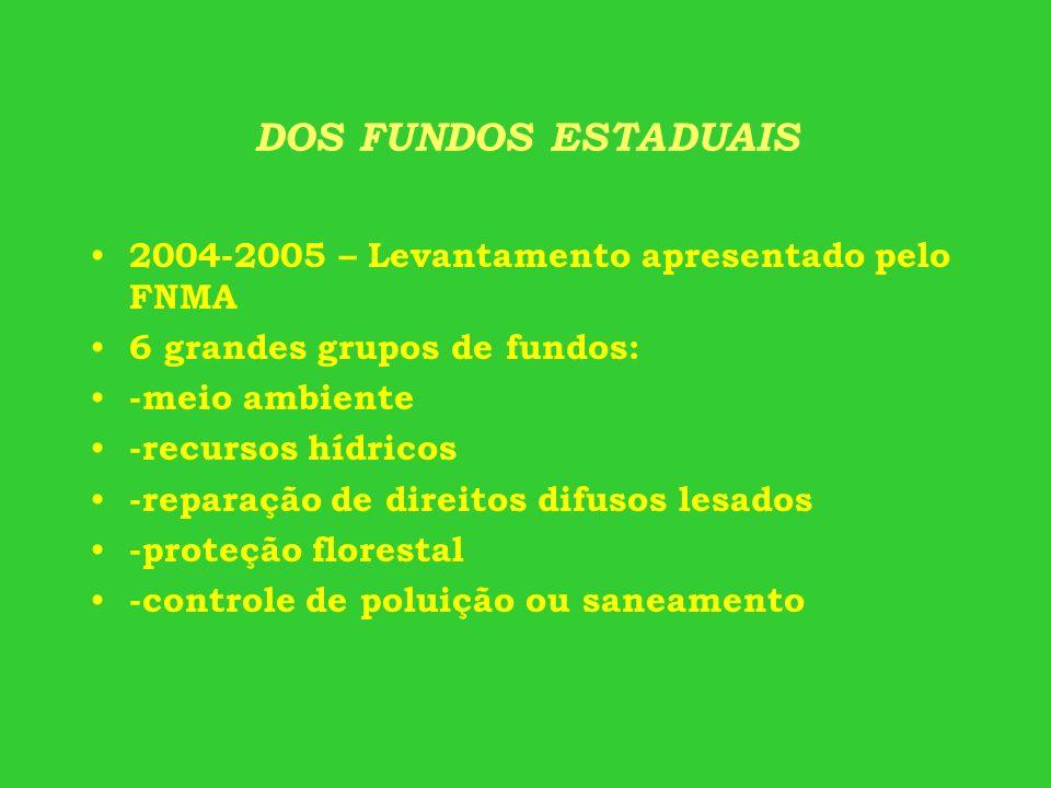 DOS FUNDOS ESTADUAIS 2004-2005 – Levantamento apresentado pelo FNMA 6 grandes grupos de fundos: -meio ambiente -recursos hídricos -reparação de direit