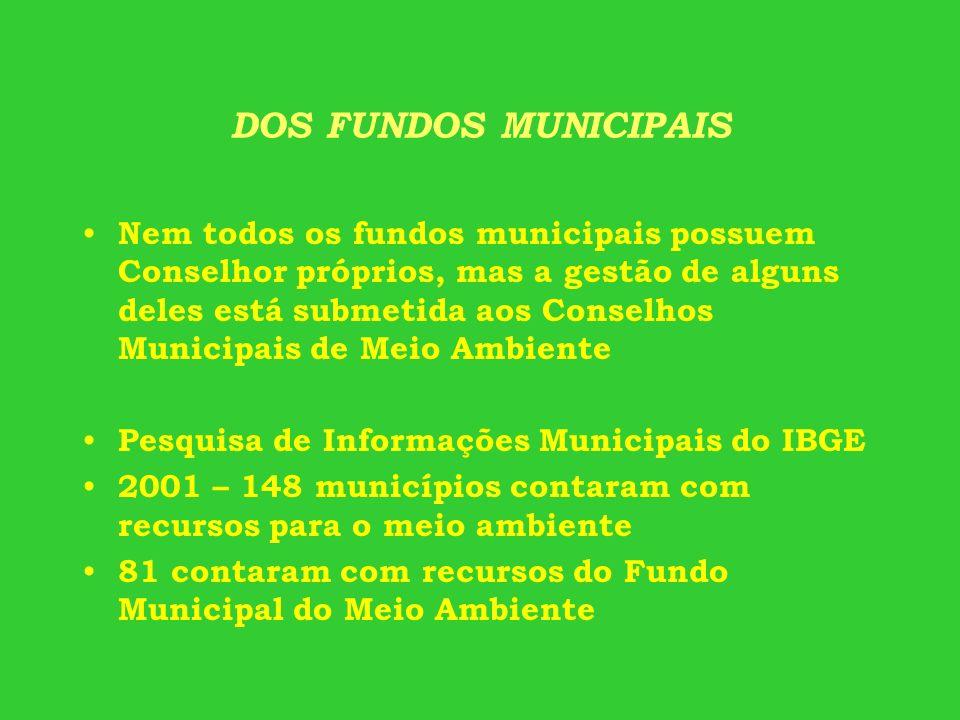 DOS FUNDOS MUNICIPAIS Nem todos os fundos municipais possuem Conselhor próprios, mas a gestão de alguns deles está submetida aos Conselhos Municipais