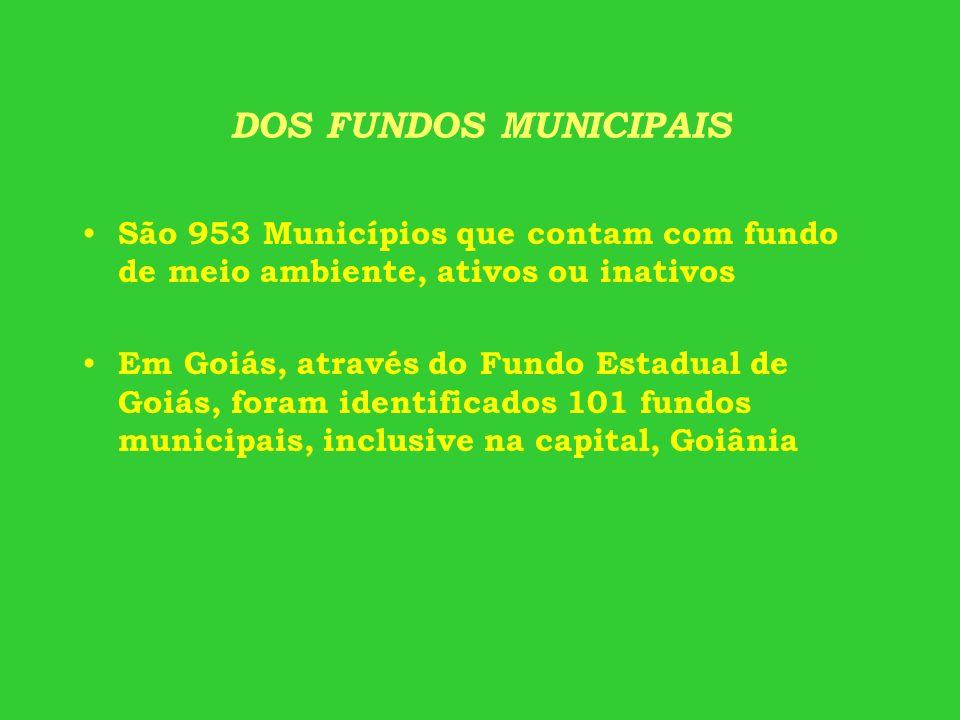 DOS FUNDOS MUNICIPAIS São 953 Municípios que contam com fundo de meio ambiente, ativos ou inativos Em Goiás, através do Fundo Estadual de Goiás, foram