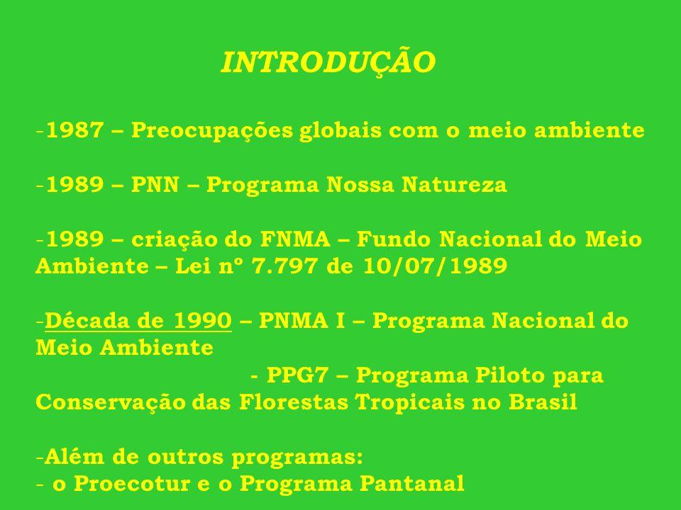 INTRODUÇÃO - 1987 – Preocupações globais com o meio ambiente - 1989 – PNN – Programa Nossa Natureza - 1989 – criação do FNMA – Fundo Nacional do Meio