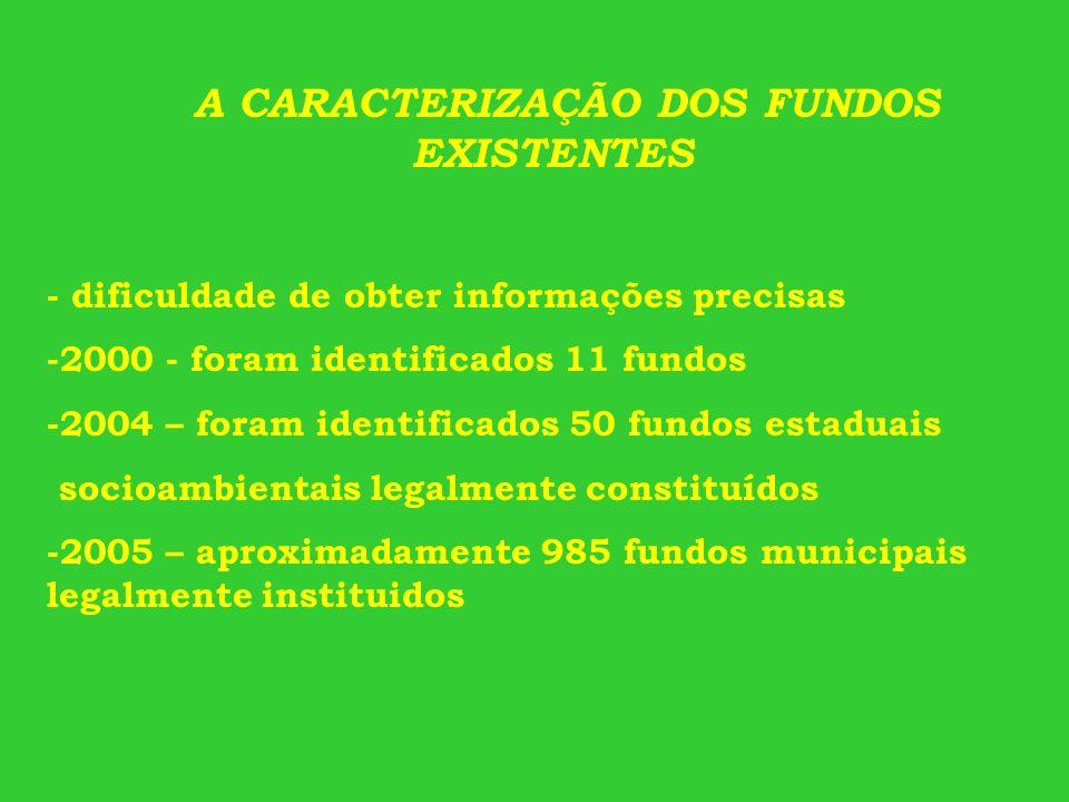 A CARACTERIZAÇÃO DOS FUNDOS EXISTENTES - dificuldade de obter informações precisas -2000 - foram identificados 11 fundos -2004 – foram identificados 5