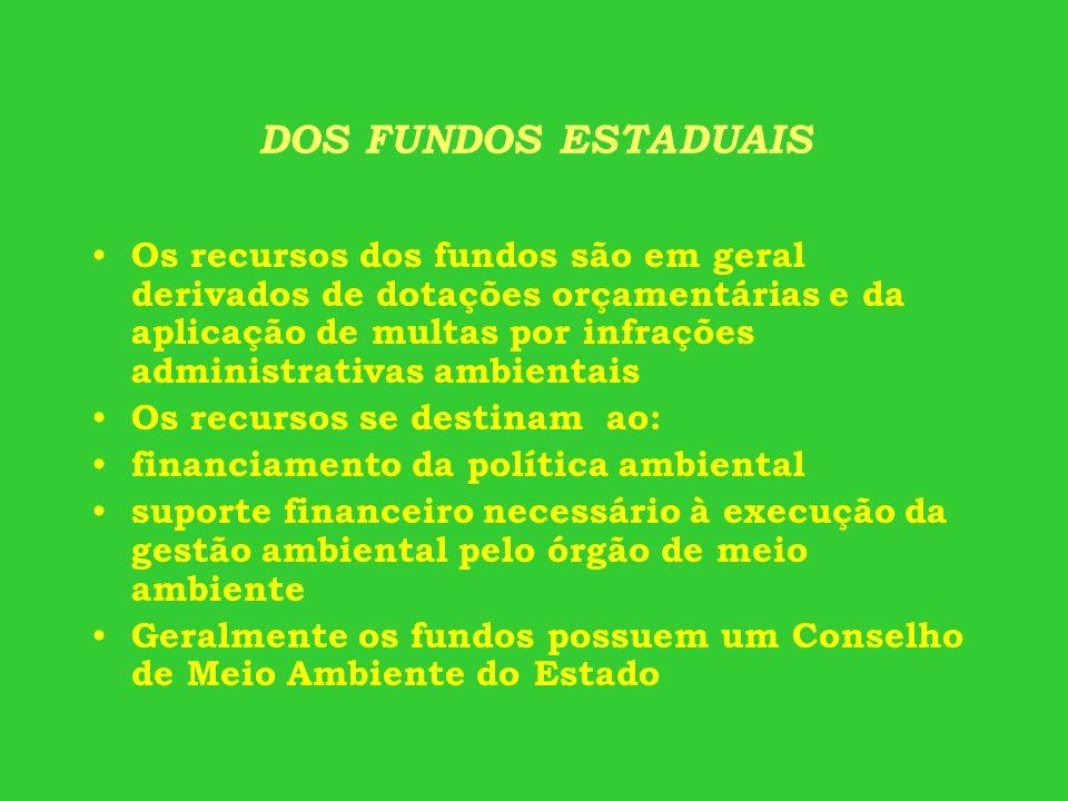 DOS FUNDOS ESTADUAIS Os recursos dos fundos são em geral derivados de dotações orçamentárias e da aplicação de multas por infrações administrativas am