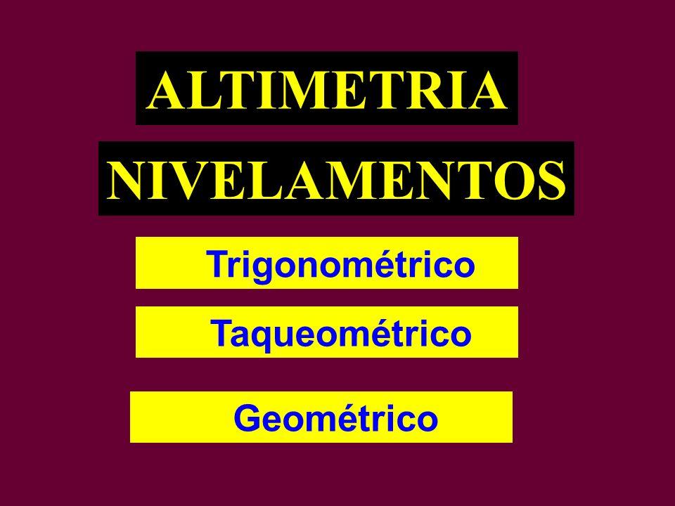 NIVELAMENTOS Trigonométrico Taqueométrico ALTIMETRIA Geométrico