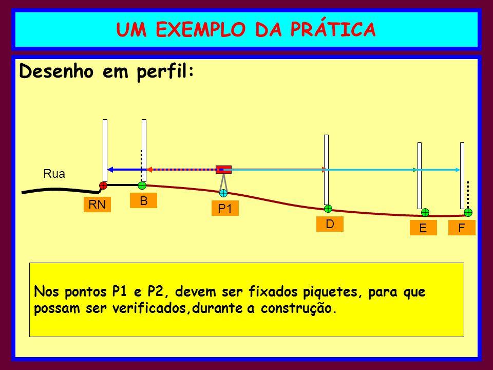 Desenho em perfil: UM EXEMPLO DA PRÁTICA RN B P1 D EF Rua Nos pontos P1 e P2, devem ser fixados piquetes, para que possam ser verificados,durante a co